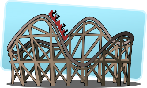 Clip art image of people on a rollercoaster.