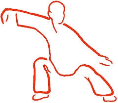 Drawing of a person doing t'ai chi