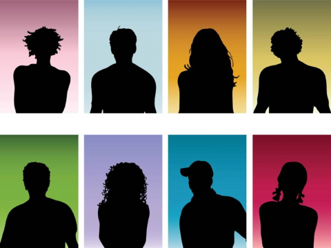Teens in silhouette