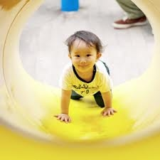 Toddler crawling through play tunnel