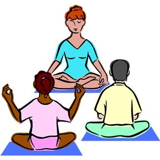 Teacher leading 2 students in yoga poses