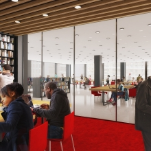 The new MLK Library will have a welcoming Reading Room with plenty of books and comfortable seating.