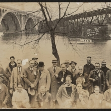 panaromic photo of attendees at the Potomac Boat Club oyster roast, 1933