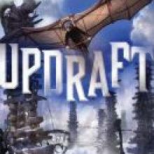 Updraft cover - depicts a figure with goggles flying with man-made wings
