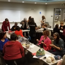 Upper NW Knitters gathering at the Tenley-Friendship Library