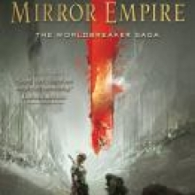 The Mirror Empire cover - depicts a figure standing before a red split in reality, the rest of the cover is a pale green and gray shade