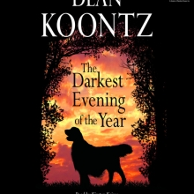 The Darkest Evening of the Year cover: a silhouette of a golden retriever in front of a sunset and framed by silhouettes of trees.