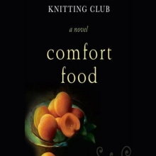 Comfort Food cover- a bowl of peaches in the lower left on a stark solid background