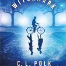 Witchmark cover - a blue cover with the silhouette of a figure riding a bike; in the reflection of the wheels two figures walk