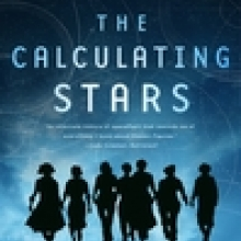 The Calculating Stars cover - seven women in silhouette walk hand in hand towards a blue and dark night sky