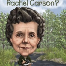 Who was Rachel Carson? cover. A woman (Rachel Carson) sits on a rock by a stream in a forest, writing in a notebook.