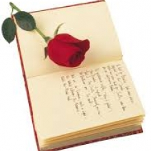 Image of poem and flower to symbolize elegy