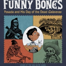 Funny Bones cover: Jose Guadalupe Posada in front of four calaveras.