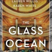 The glass ocean cover with the text imposed over the image of the Lusitania's dining hall