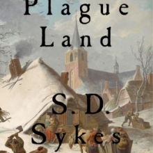 Plague Land cover which is a painting of plague deaths, people being thrown into the water and houses on fire