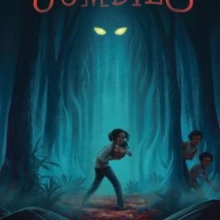 The Jumbies cover featuring a girl in a forest glade with two pupiless eyes in the background.