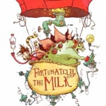 Fortunately the Milk cover- a man riding in a hot air balloon that is piloted by a stegosaurus