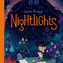 Nightlights cover- a girl in a school uniform sits on the ground in a forest at night and draws sketches in her notebook
