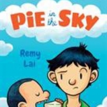 Pie in the Sky cover - Two children next to each other. The smaller one is eating a slice of pie.