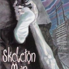 Skeleton Man cover featuring a skeleton arm grabbing the socked foot of an escaping child.