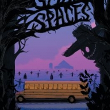 Small Spaces cover featuring the silhouette of a scarecrow in the foreground with a school bus surrounded by scarecrow silhouettes in the background.
