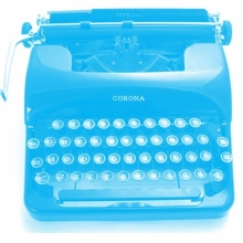 True Blue. Corona typewriter. Aspiring Writers Circle logo.