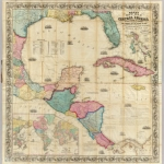 Vintage map of Central America from David Rumsey Collection