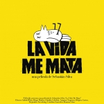 """La Vida Me Mata"" with animated dead bird lying on top of letters"