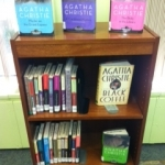 Library display of Agatha Christie mysteries