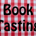 Image of table cloth with letters for book tasting superimposed on it