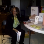 Librarian Karen Towles with literacy display