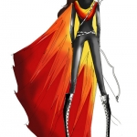 Charlotte Ronson Sketch of the Katniss Fire Dress