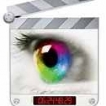 A multicolored human eye gazes from a clapboard, filling the observer with a passionate desire to edit digital video.