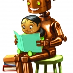 Robot and girl reading book