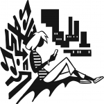 Teen reading in front of city view, logo