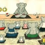Babar and friends doing yoga