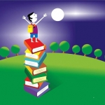 Boy on book stack