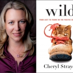 Head shot of author Cheryl Strayed and picture of book cover