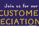 Customer appreciation sigh in gold letters in front of a blue background