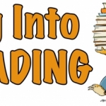 "Summer reading logo: ""Dig into Reading"""