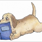 dog reading a book picture
