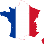 Flag on map of France