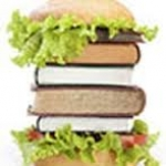 """Image of """"book burger"""" to promote book tasting"""