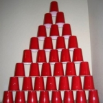 Red plastic cup pyramid