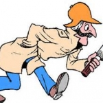 man walking with magnify glass