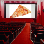 Pizza on a movie screen