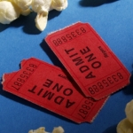 Movie ticket and popcorn