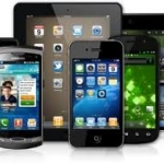 Picture of a variety of tablets, e-readers, and smartphones.