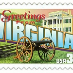 Postage stamp featuring Virginia